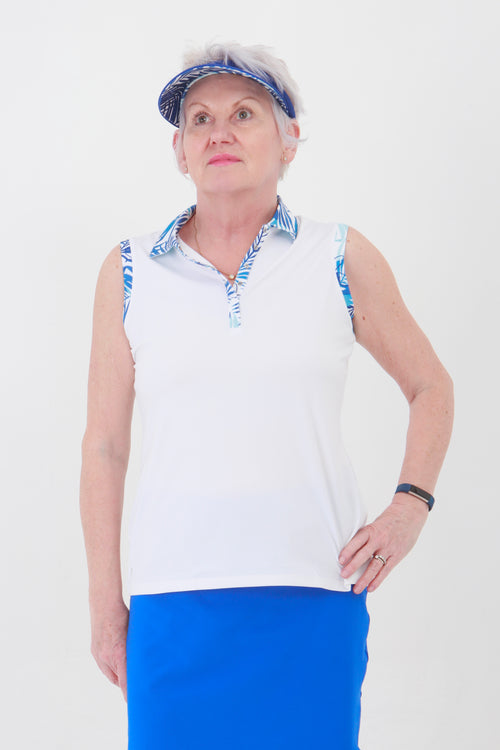 Nancy Lopez Escapade sleeveless polo - White/blue multi