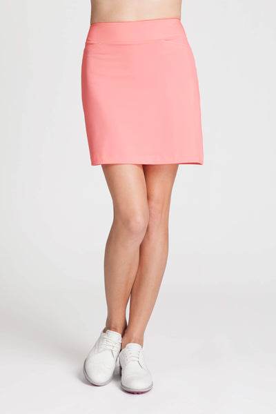 Analiza skort (coral) - Straight fitting pull on skort with ruche trim detail at side seams.