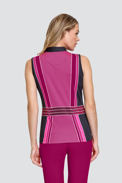Tail Adriana top - Soma Geo  For all you lady golfers who love a unique golfing outfit, look no further. If you want to look good and be wearing stylish ladies golfing, Tail Activewear is a brand for you. Ladies golf clothing should be stylish and comfortable. This ladies golfing polo is super stylish and will match with your golf city shorts.