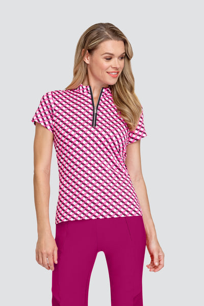 Tail Michelle top - Bordeaux Grid  Golf clothes for ladies is what we do. This ladies golf polo shirt is unique and different. It fits perfectly ensuring your daily sport on the golf course feels comfortable and stylish. We love ladies golf shorts too and the bella shorts from the rose garden collection do just that.