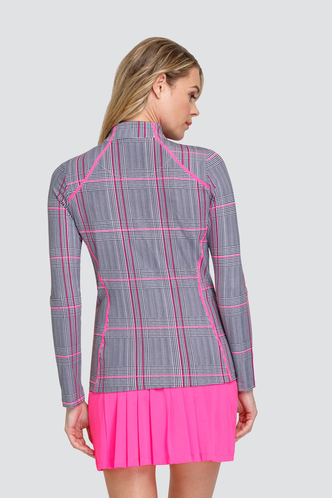 Tail Courtney top - Parisian Plaid - Ladies golf lid layers for the summer are a prerequisite. We love this outfit that will be a bit hit for all lady golfers who love quality ladies golf clothing and at the same time like a ladies golf clothing sale for some end of season ladies golf outfits. We have ladies golf polo shirts and ladies golf skorts.