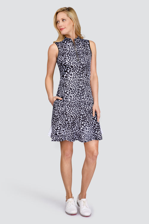 Tail Elianna Dress - Fierce Leopard   Ladies Golf Dresses and Ladies golf outfits are what we do. This leopard golf print ladies golf dress is a winning outfit. We also do ladies golf polo shirts and ladies golf shorts and skorts. This dress has a stylish flounce and is great golf clothing for ladies. We sometimes have a ladies golf clothing sale