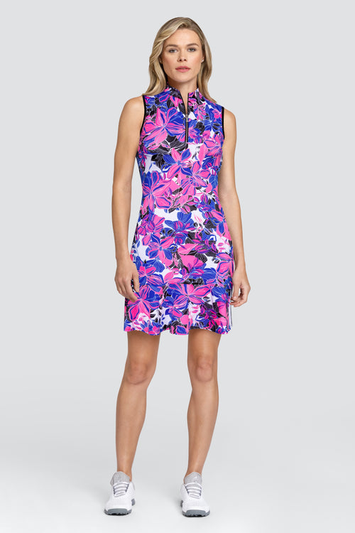 Tail Elianna Dress - Oasis Ladies Golf Dresses and Ladies golf outfits are what we do. This leopard golf print ladies golf dress is a winning outfit. We also do ladies golf polo shirts and ladies golf shorts and skorts. This dress has a stylish flounce and is great golf clothing for ladies. We sometimes have a ladies golf clothing sale,.