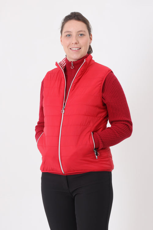 This lightweight, stylish ladies golfing gilet is a must for keeping cosy in our unpredictable weather. Lady golfers or lady tennis players will keep warm.  Its to keep you lady golfers and lady tennis players warm.  Warm ladies golfwear is what we and JRB ladies are all about.