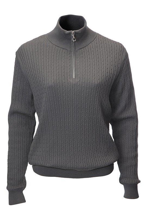 This JRB lined ladies golfing sweater is totally on trend with its cable knit.  Daily sports also have a similar range.  We currently have a golfing clothing sale on this item so it's a total bargain for lady golfers,   Its a ladies golfing sweater or a ladies golfing jumper?   The graphite is such a fashionable colour.