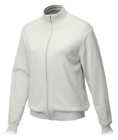 This cotton knitted, cardigan style golf jacket has all the warmth and protection of a light coat, yet still has that cosy feel of knit. All you lovely lady golfers out there will love this. The colour is neutral  which is perfect for every womens golfing wardrobe.