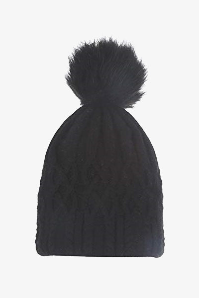 Cosyhead Lottie faux fur cable bobble hat - black