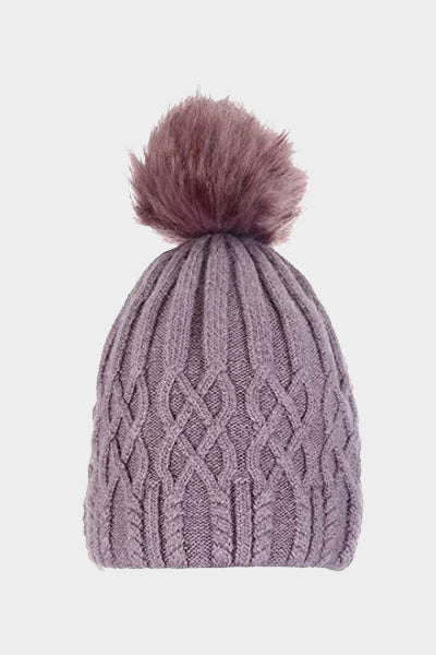 Cosyhead Lottie faux fur cable bobble hat - Dusky pink