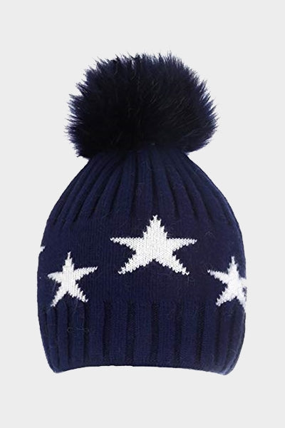 Cosyhead Ella faux fur star bobble hat - Navy