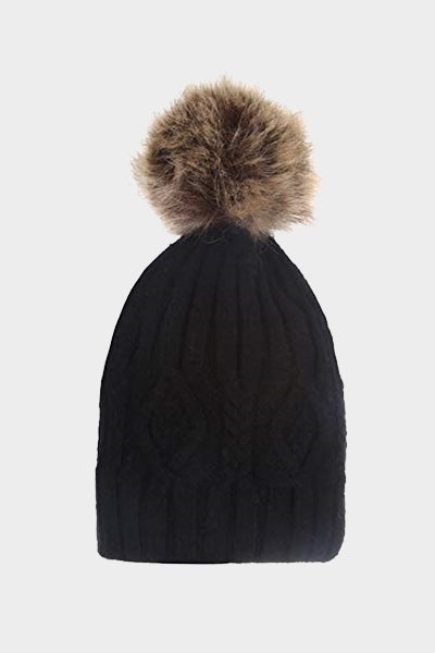 Cosyhead Isla faux fur cable bobble hat - Black