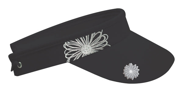 Embroidered flower visor - Black