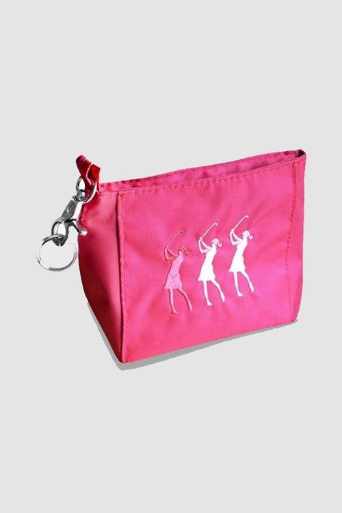 Handy bag - embroidered lady golfer - pink