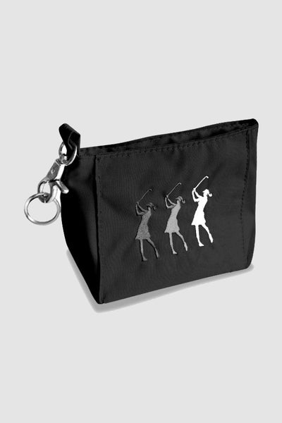 Handy bag - embroidered lady golfer - black