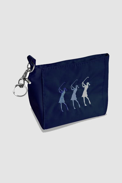 Handy bag - embroidered lady golfer - navy