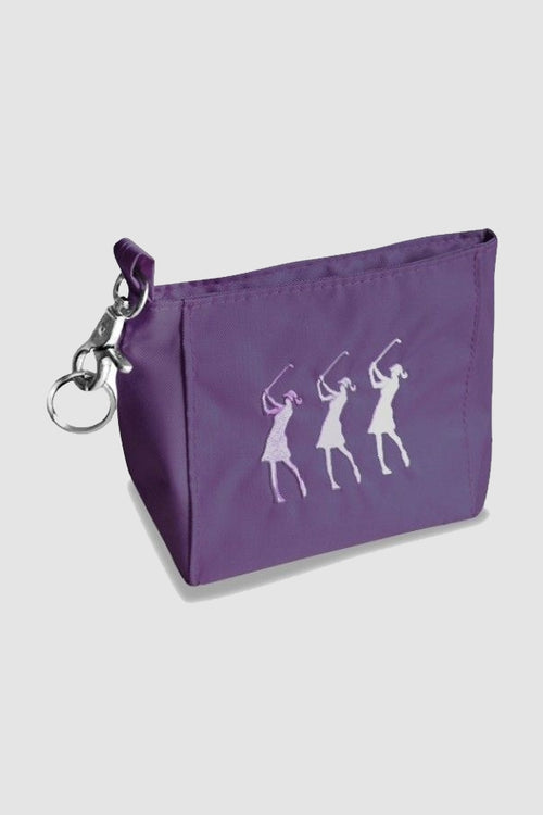 Handy bag - embroidered lady golfer - purple