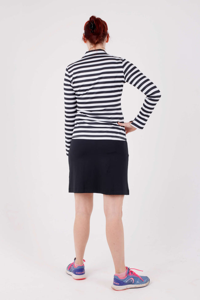 Iconic Pasatiempo long sleeved polo - Black and white stripe