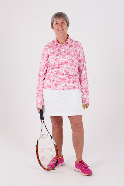 Iconic Button-up polo shirt w thumbhole - Pink Dresden