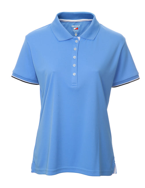 This is an essential item for every lady golfer and her golfing wardrobe.  Who doesn't need a blue golf polo shirt?  This will also work for Lady tennis players who are looking for a plain black tennis polo shirt to match with their tennis skort or tennis shorts.  Lady Tennis players and lady golfers need this.