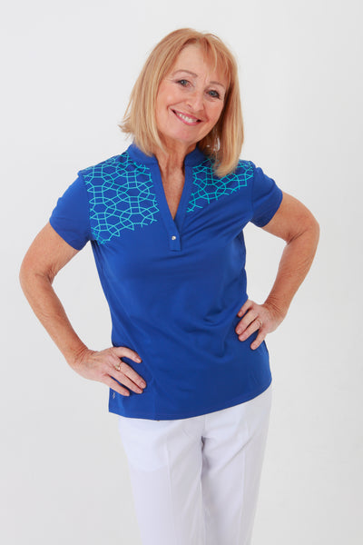 Nancy Lopez Legacy short sleeved polo - Twilight/Aqua