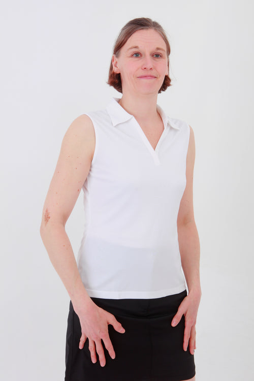 Nancy Lopez Legacy sleeveless polo - White