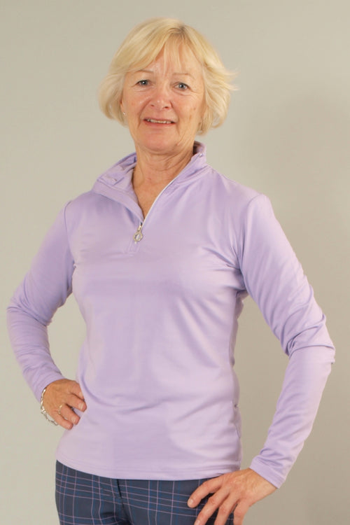 JRB 1/4 zipped roll neck top - lilac
