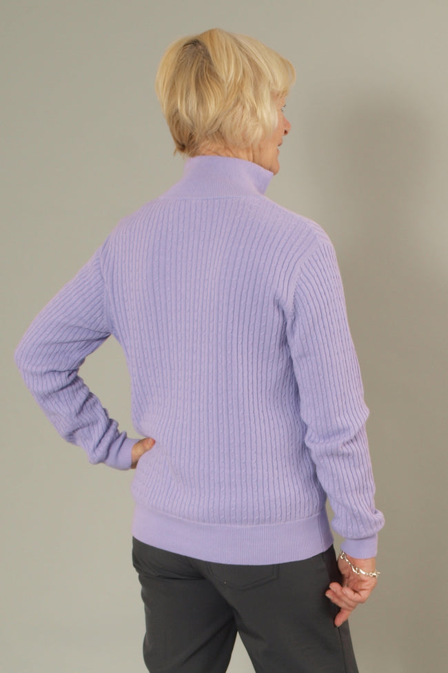 This JRB lined ladies golfing sweater is totally on trend with its cable knit.  Daily sports also have a similar range.  We currently have a golfing clothing sale on this item so it's a total bargain for lady golfers,   Its a ladies golfing sweater or a ladies golfing jumper?   The lilac is such a fashionable colour.