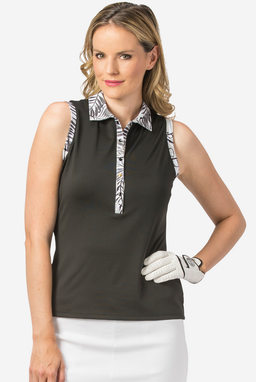 Nancy Lopez Escapade sleeveless polo - Black multi