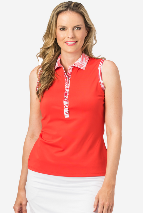 Nancy Lopez Escapade sleeveless polo - Fiery Red multi