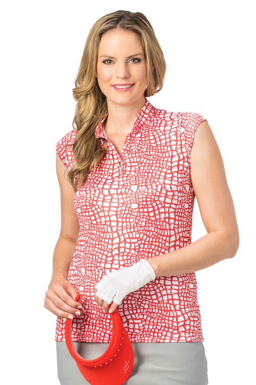 Nancy Lopez Native sleeveless polo - Fiery Red/White