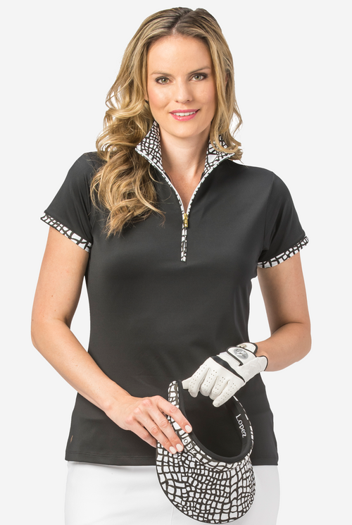 Nancy Lopez Wild short sleeved polo - Black/White