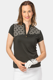 Nancy Lopez Legacy short sleeved polo - Black/White