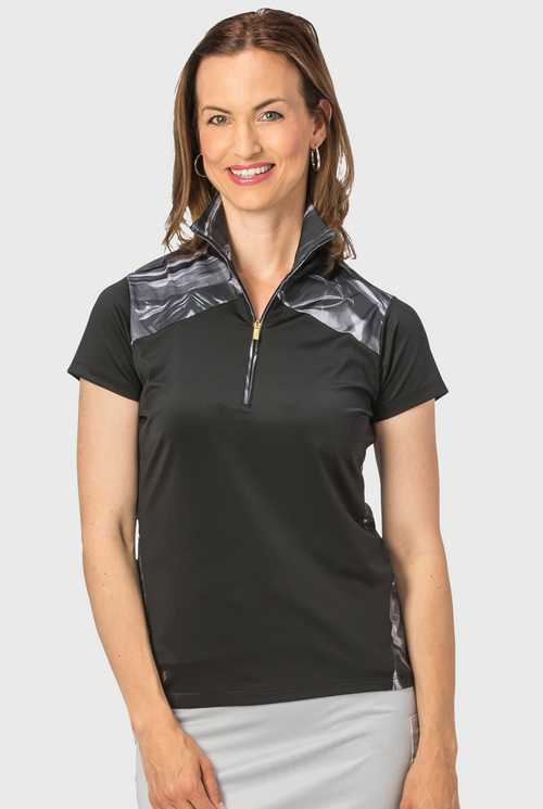 Nancy Lopez Hologram short sleeved polo - Black/Multi