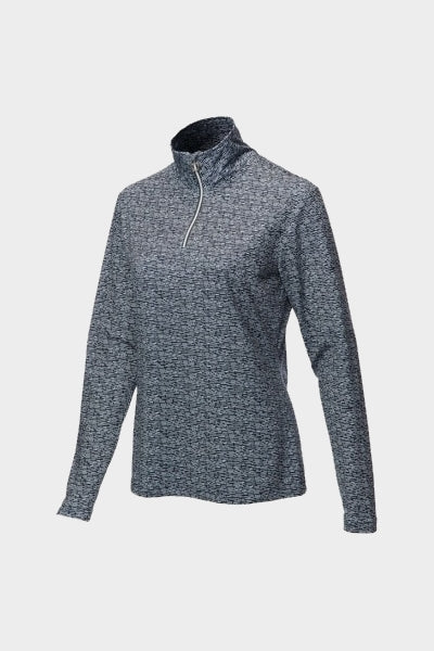 JRB 1/4 Zipped Roll Neck Top - Navy/White Pattern