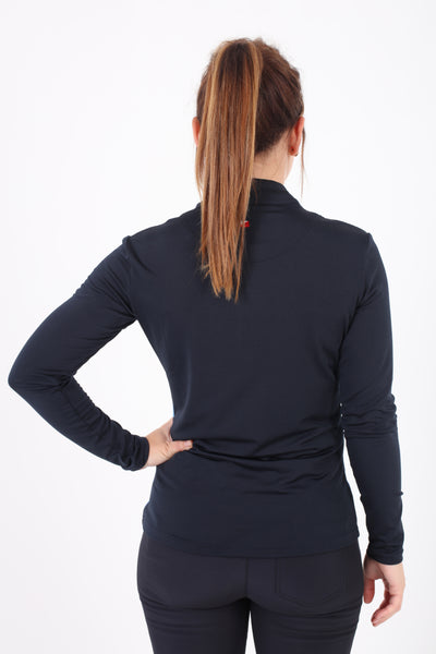 JRB 1/4 Zipped Roll Neck Top - Navy Stripe