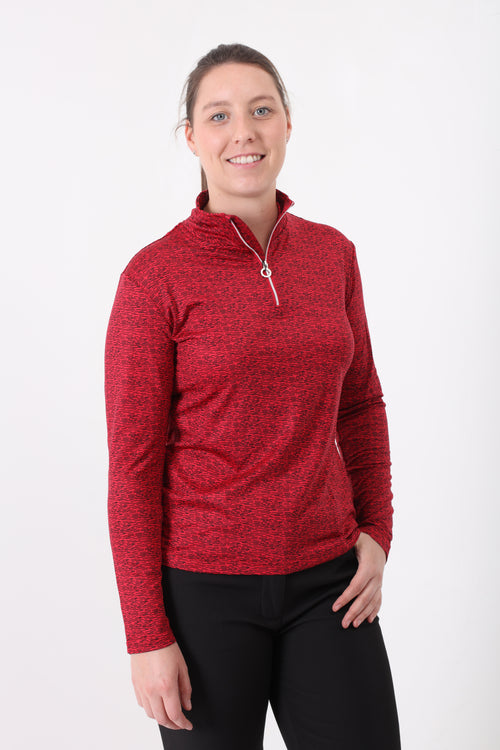 JRB 1/4 zipped roll neck top - Red print
