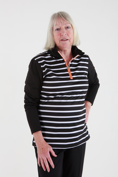 JRB 1/4 zip striped top - Black