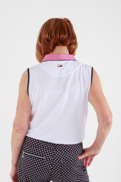 JRB Melange sleeveless shirt - white with fuchsia