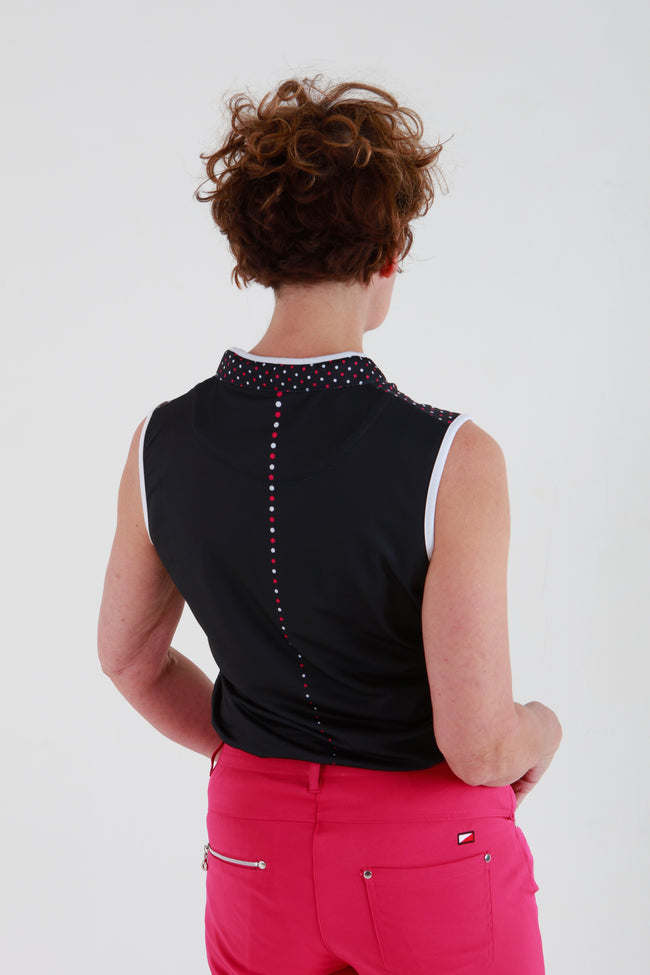 JRB Spot sleeveless shirt - Navy/fuchsia