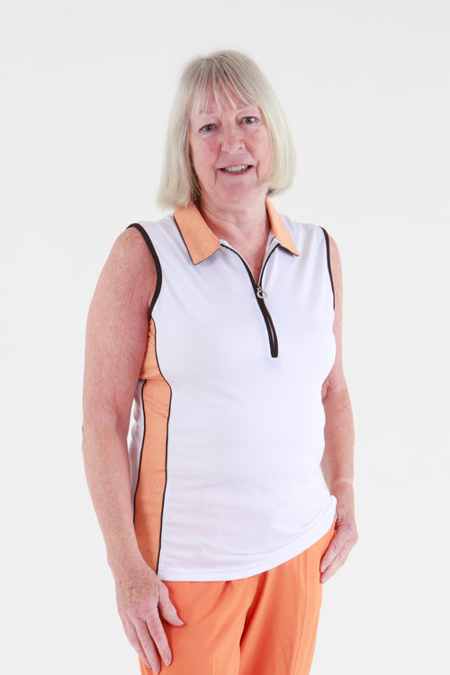 JRB Melange sleeveless shirt - white with amber