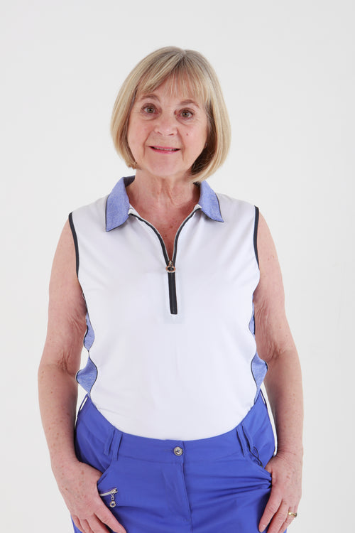 JRB Melange sleeveless shirt - white with blue iris