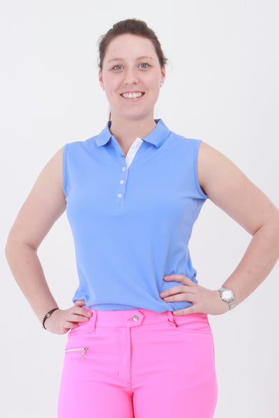 This is an essential item for every lady golfer and her golfing wardrobe.  Who doesn't need a pretty cornflower blue golf polo shirt?  This will also work for Lady tennis players who are looking for a tennis polo shirt to match with their tennis skort or tennis shorts.  Lady Tennis players and lady golfers need this.