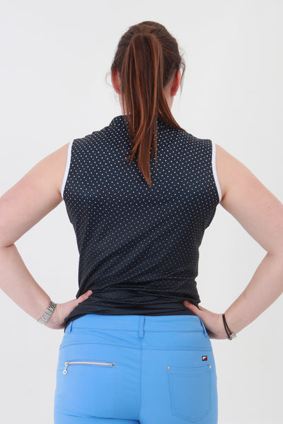 This zip necked ladies golf sleeveless polo feels silky to wear. It has a navy spot pattern that will give lady golfers a stylish fashion statement to impress fellow lady golfers.  There are a number of lady golf polo shirts in the new JRB Ladies Golf range.  Sleeveless and Short Sleeved ladies golf shirts.