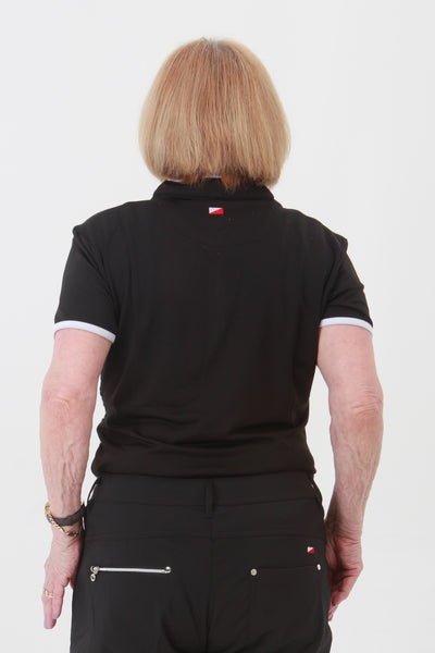 This zip necked ladies golf short sleeved polo feels silky to wear. It has a subtle spot pattern that will give you lady golfers a stylish fashion statement and impress fellow lady golfers.  There are a number of lady golf polo shirts in the new JRB Ladies Golf range.  Sleeveless and Short Sleeved ladies golf shirts.