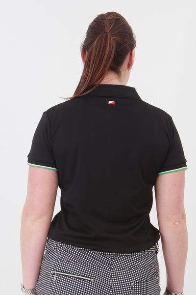 This is an essential item for every lady golfer and her golfing wardrobe.  Who doesn't need a black golf polo shirt?  This will also work for Lady tennis players who are looking for a plain black tennis polo shirt to match with their tennis skort or tennis shorts.  Lady Tennis players and lady golfers need this.