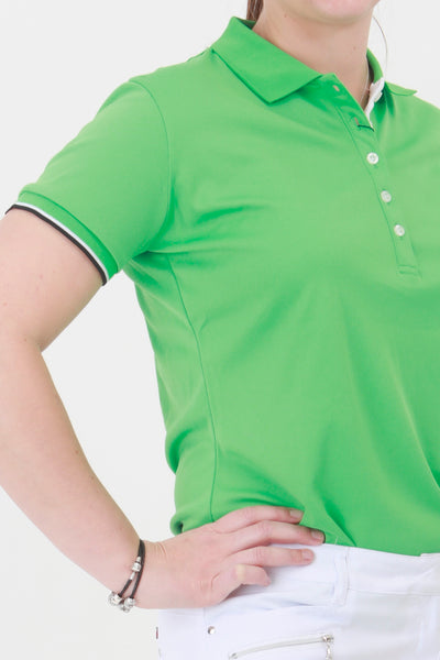 We have an amazing range of golf clothes for women. This green golf sleeveless polo shirt coordinates with the green lady golfer range from JRB Ladies golf.  The colour is stunning and compliments the ladies golf skorts and ladies golf shorts, especially the ladies golf city shorts in light grey and black.
