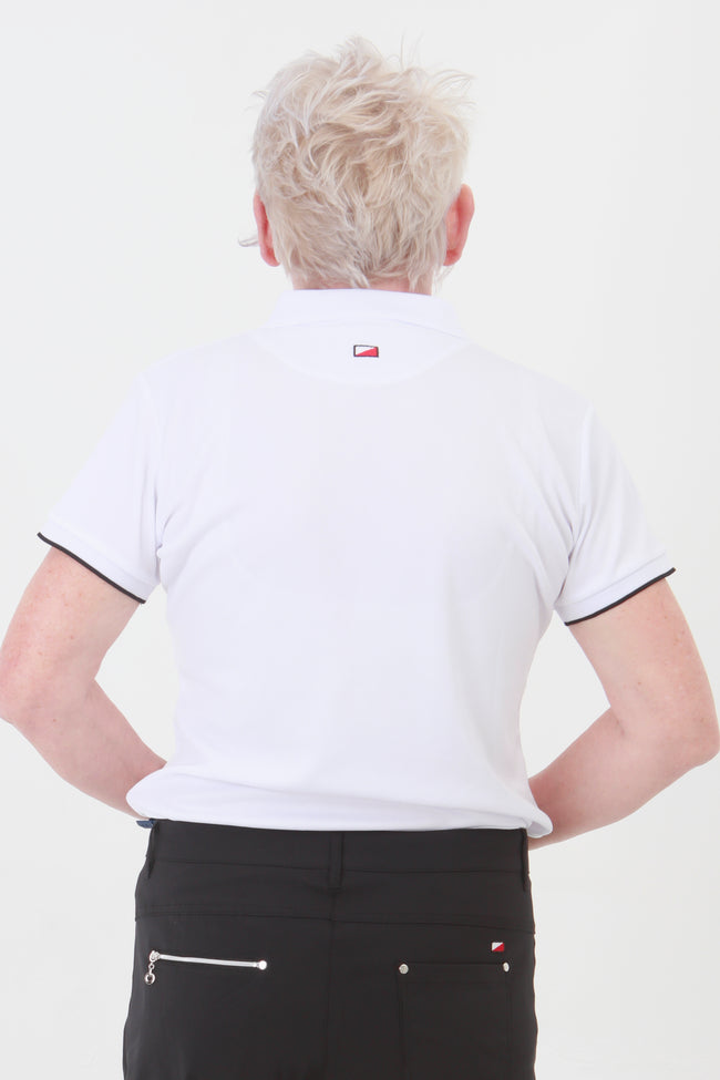This is an essential item for every lady golfer and her golfing wardrobe.  Who doesn't need a white golf polo shirt?  This will also work for Lady tennis players who are looking for a plain white tennis polo shirt to match with their tennis skort or tennis shorts.  Lady Tennis players and lady golfers need this.