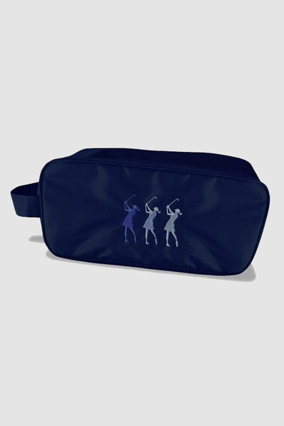 Shoe bag - embroidered lady golfer - navy