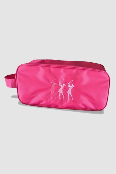 Shoe bag - embroidered lady golfer - pink