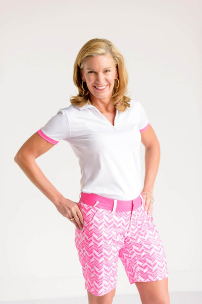 Birdies & Bows Longer Ladies Golf links shorts - Pink par