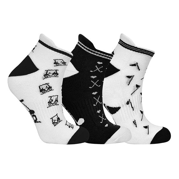 Ladies golf socks - pack of three pairs - Black and white golf designs